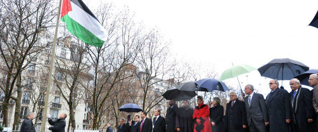 Palestinian flag raised at UNESCO Headquarters in Paris. Photo: Unesco