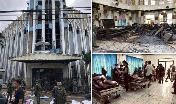Bom Filipina - puing-puing di dalam katedral Katolik dan korban yang menerima perawatan medis. Image- EPA