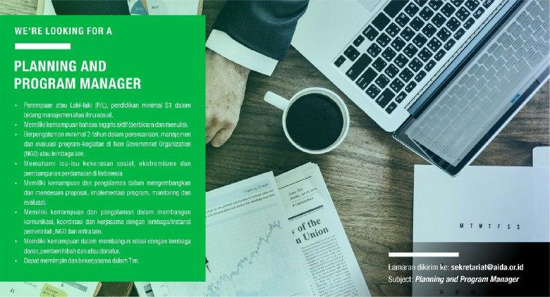 Lowongan AIDA 2019 - Planning And Program Manager